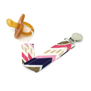 Pink, Navy, and Gold Pacifier Clip - Petite Chalet