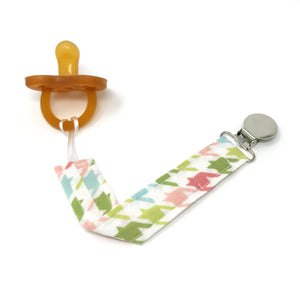 Pink and Green Houndstooth Pacifier Clip - Petite Chalet