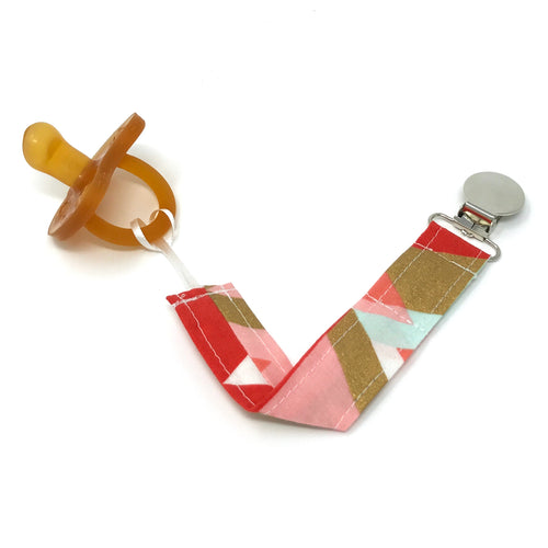 Mint and Pink Aztec Print Pacifier Clip - Petite Chalet