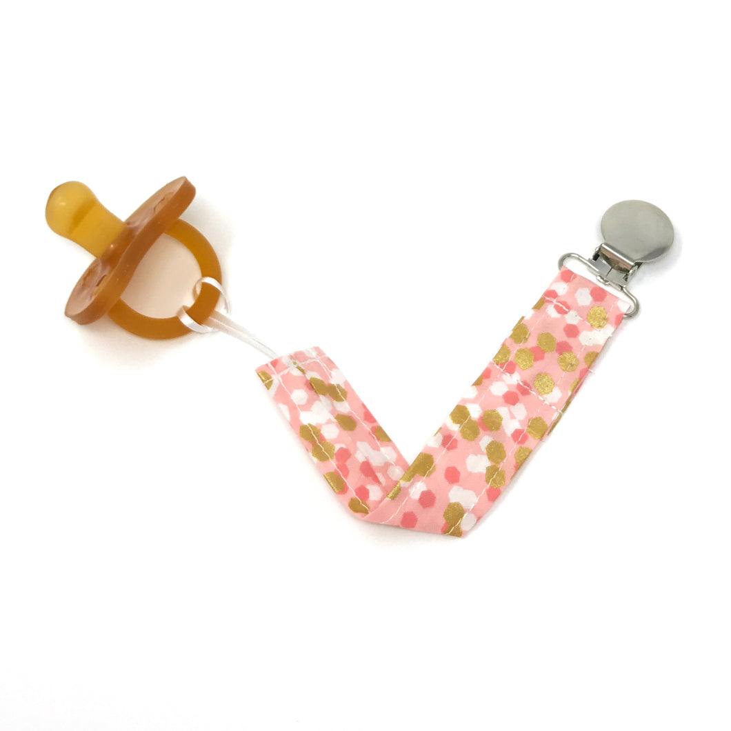 Pink and Gold Confetti Pacifier Clip - Petite Chalet