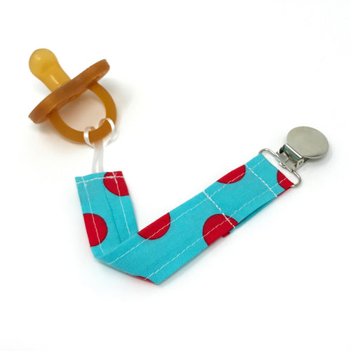 Aqua and Red Polkadot Pacifier Clip - Petite Chalet