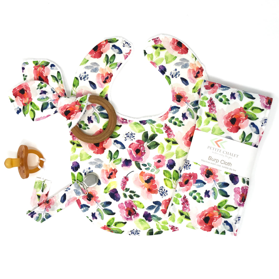 Spring Watercolor Floral Gift Set WITH Teether - Petite Chalet