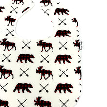 Buffalo Plaid Moose and Bear Baby Bib - Petite Chalet