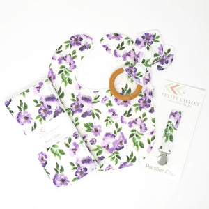 Violet Watercolor Floral Print Baby Gift Set - Petite Chalet
