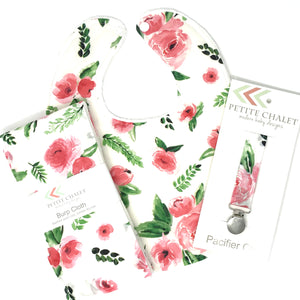 Pink and Green Floral Watercolor Gift Set - Petite Chalet