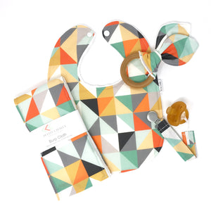Multi Color Triangle Print Baby Gift Set - Petite Chalet