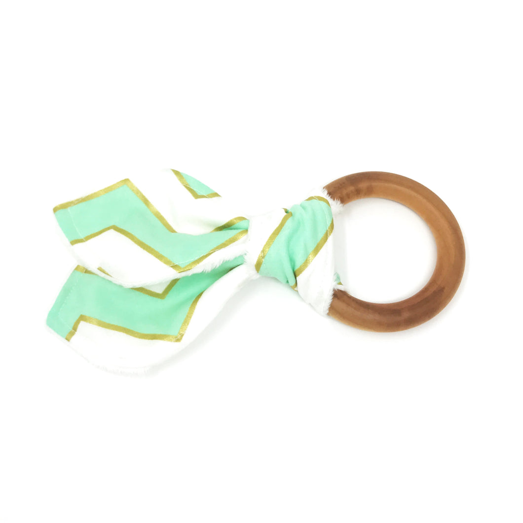 Mint and Gold Glitz Bunny Ear Teether - Petite Chalet