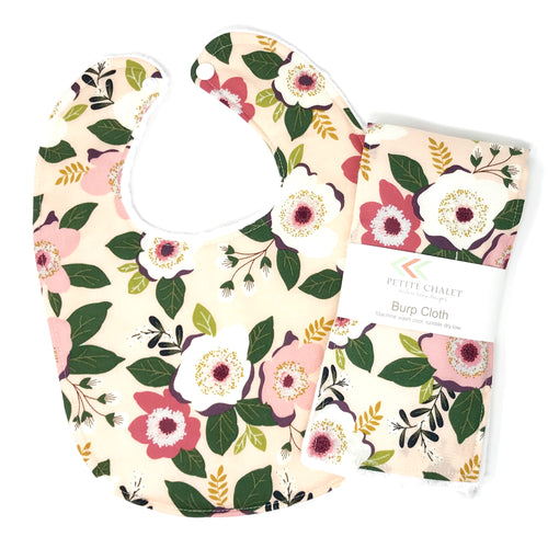 Soft Pink and Green Floral Baby Bib - Petite Chalet