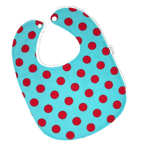 Aqua and Red Polka Dot Baby Bib - Petite Chalet