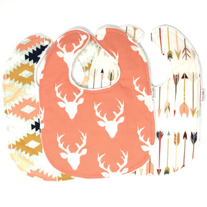 Coral Buck Forest Baby Girl Bib Trio