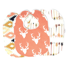 Coral Buck Forest Baby Girl Bib Trio - Petite Chalet