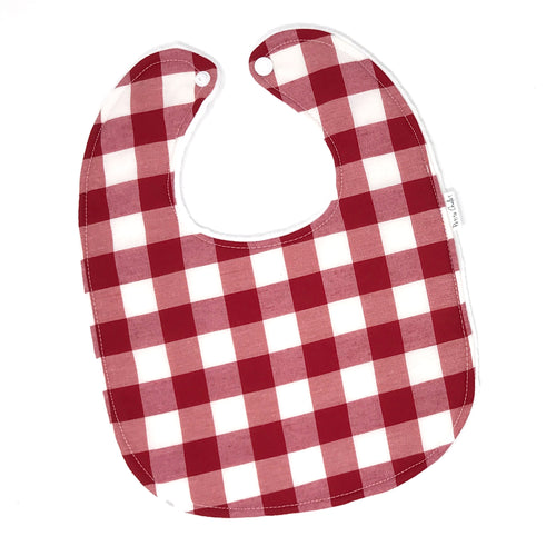 Red and White Buffalo Plaid Baby Bib - Petite Chalet