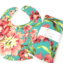 Love Bliss Bouquet Teal Floral Baby Bib - Petite Chalet