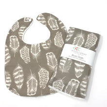 Plume in Taupe Baby Bib - Petite Chalet