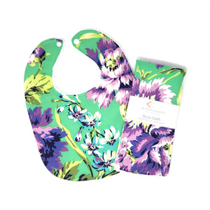 Love Bliss Bouquet Emerald Floral Baby Bib - Petite Chalet