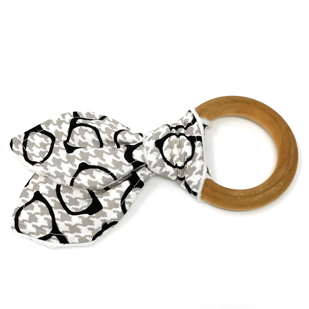Dapper Houndstooth Glasses Bunny Ear Teether - Petite Chalet