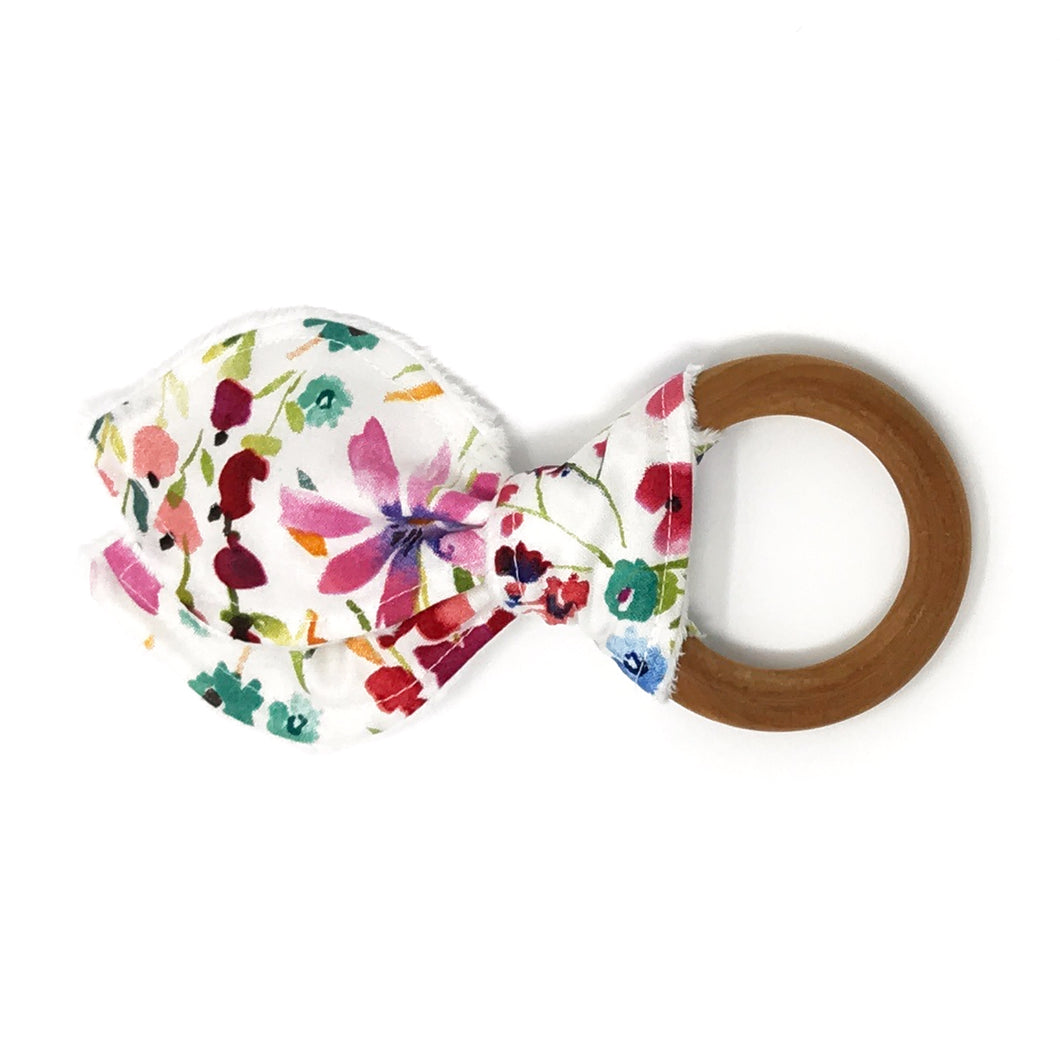 Watercolor Wildflower Bunny Ear Teether - Petite Chalet
