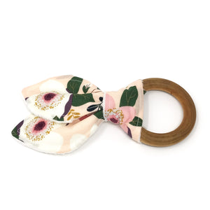 Soft Pink and Green Floral Bunny Ear Teether - Petite Chalet
