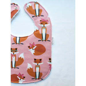 Madam Foxes in Pink Baby Bib - Petite Chalet