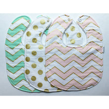 Glitz Metallic Pink, Mint, and Gold Baby Bib Trio - Petite Chalet