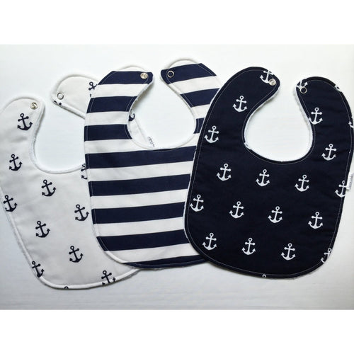 Navy and White Nautical Baby Bib Trio - Petite Chalet