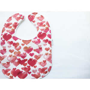 Watercolor Hearts Baby Bib - Petite Chalet