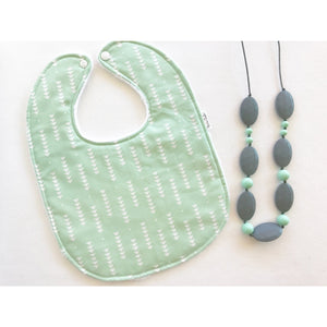 Mint and White Triangle Baby Bib - Petite Chalet