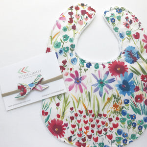 Watercolor Wildflower Floral Baby Bib - Petite Chalet