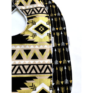 Black and Gold Arrow and Aztec Baby Bibs - Petite Chalet