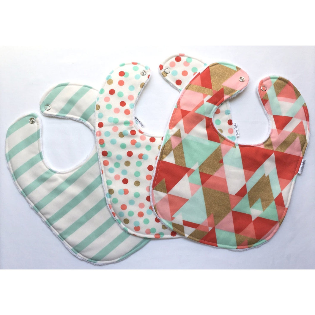 Pink and Mint Aztec Baby Bib Trio - Petite Chalet