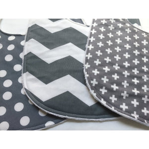 Gray and White Baby Bib Trio - Petite Chalet