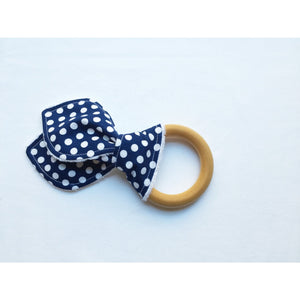 Navy and White Polkadot Bunny Ear Teether - Petite Chalet