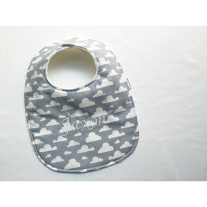 Grey and White Cloud Baby Bib - Petite Chalet