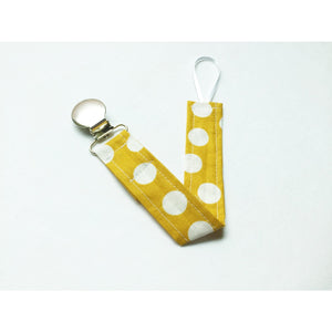 Mustard and White Polkadot Pacifier Clip - Petite Chalet