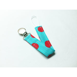Aqua and Red Polkadot Paci Clip - Petite Chalet
