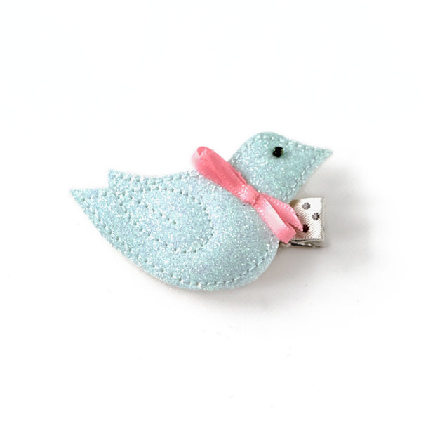 bird hair clip in light blue