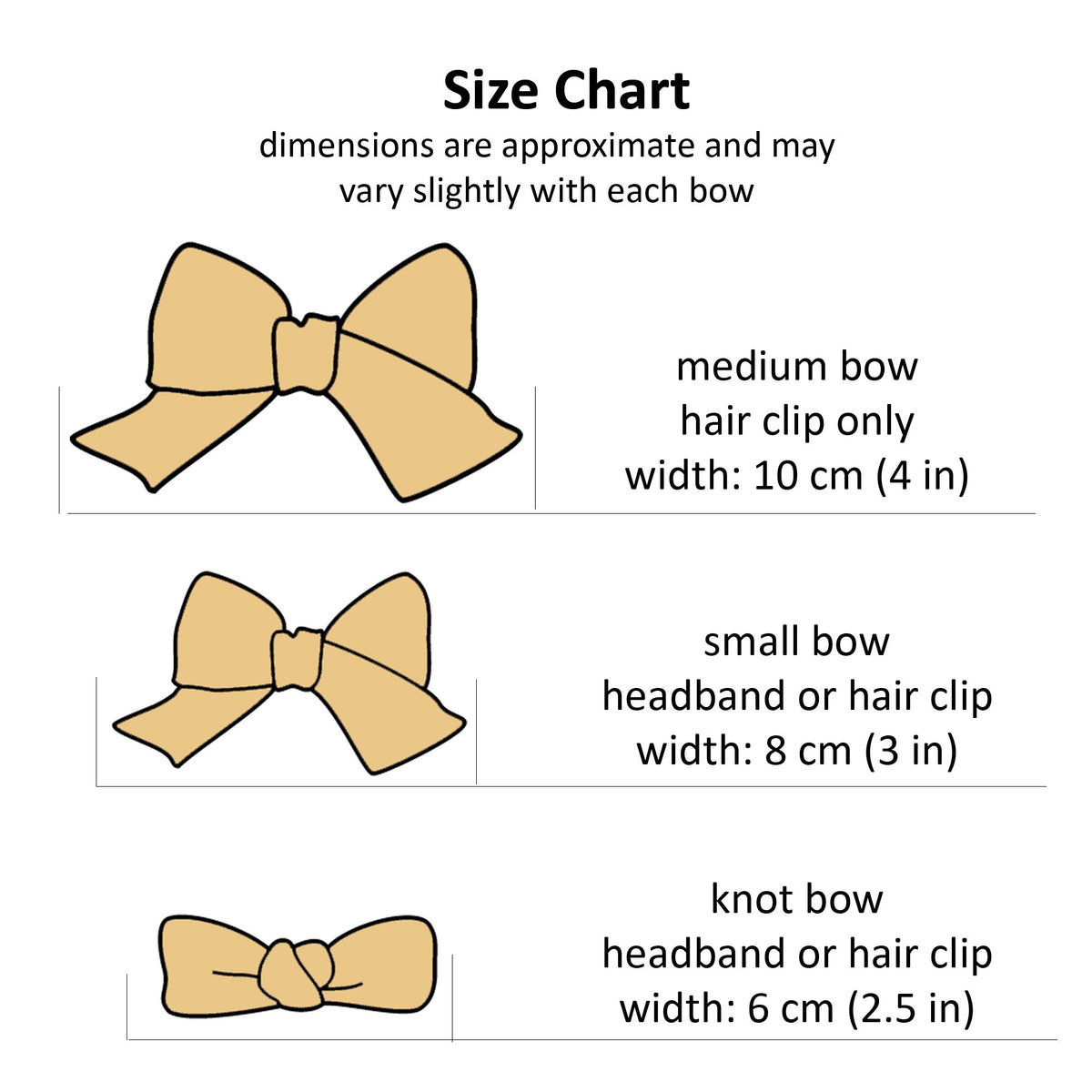 Hair bow size chart.