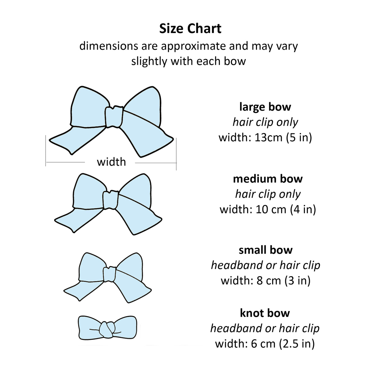 Bow graphic size chart .