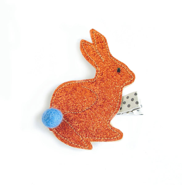 bunny hair clip in orange