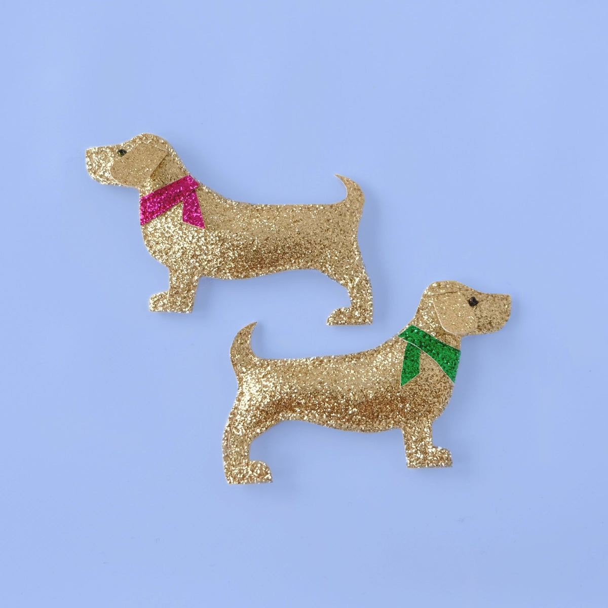 dog dachshund hair clips on blue background