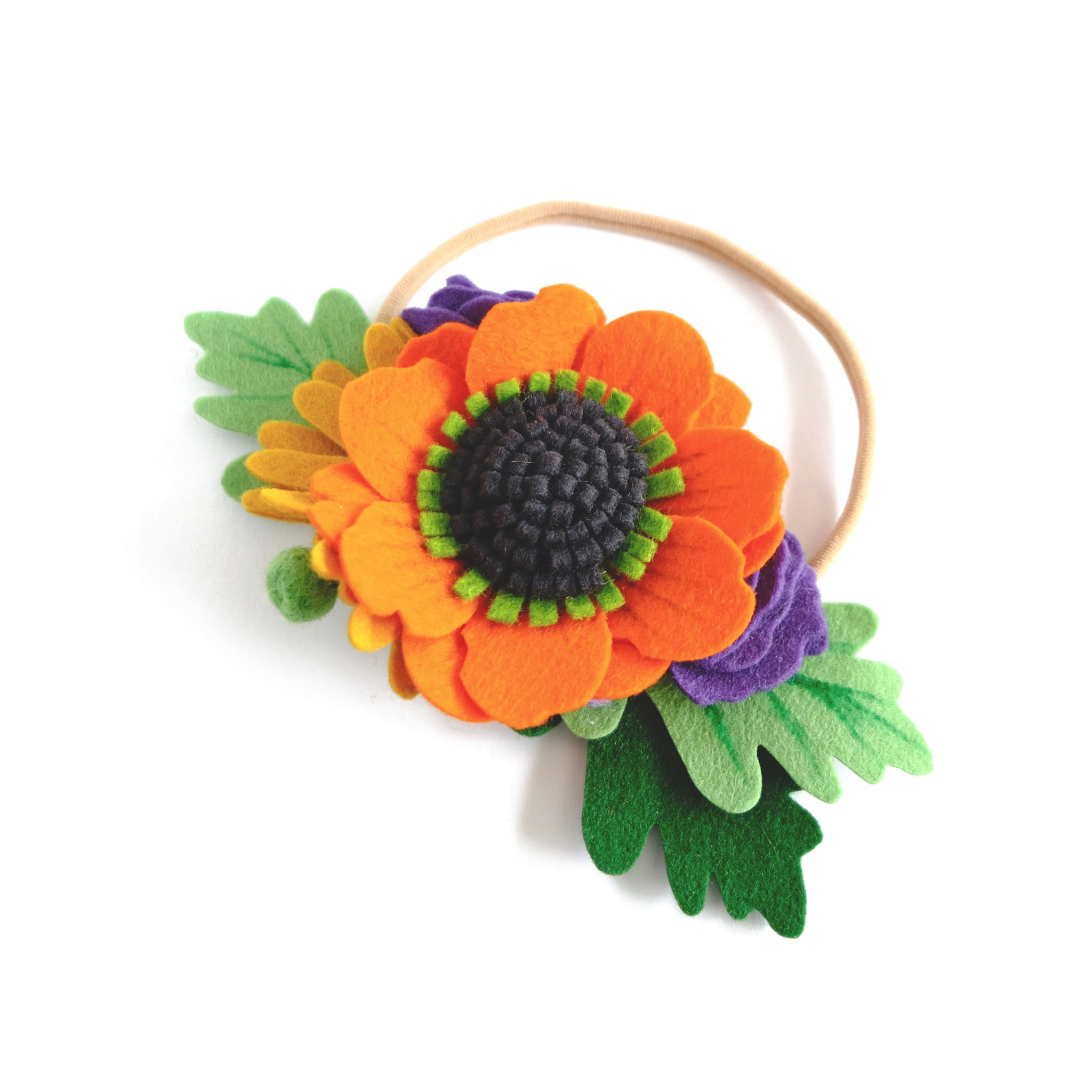 fall flower crown top view model with orange ... 1c880a99cf3