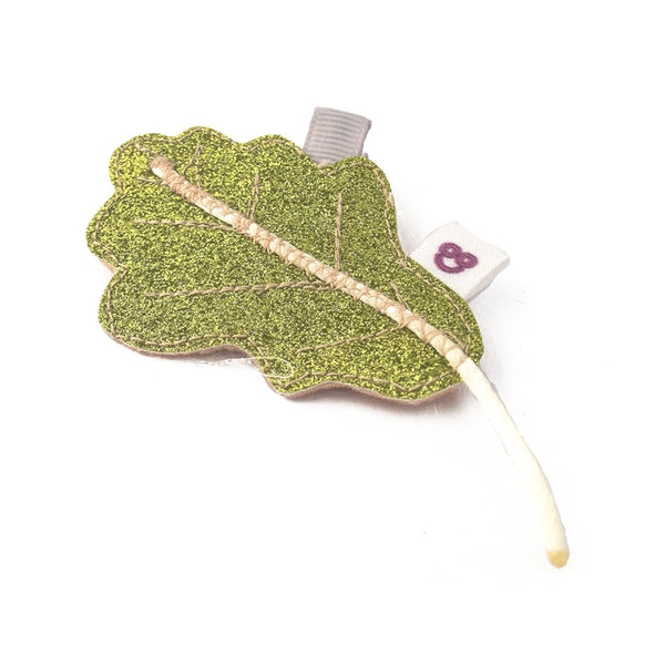 Green Oak Leaf Hair Clip