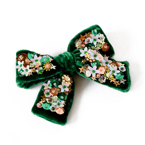 Green velvet hair bow with sequin