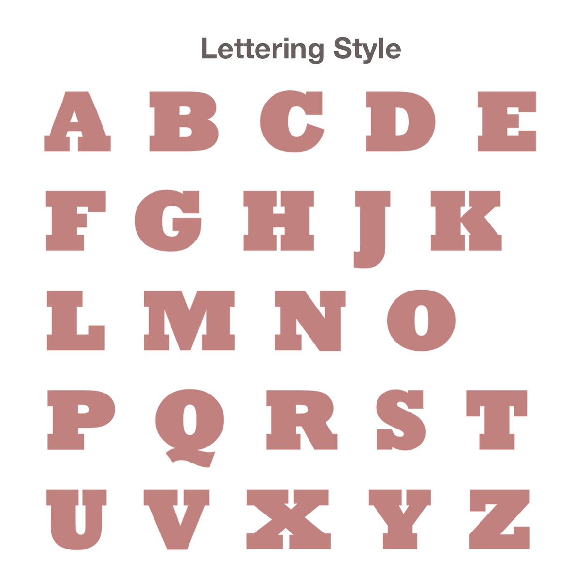 Lettering style chart.