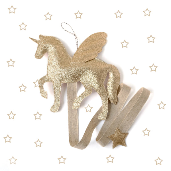 Pegasus Unicorn hair clip holder in gold.