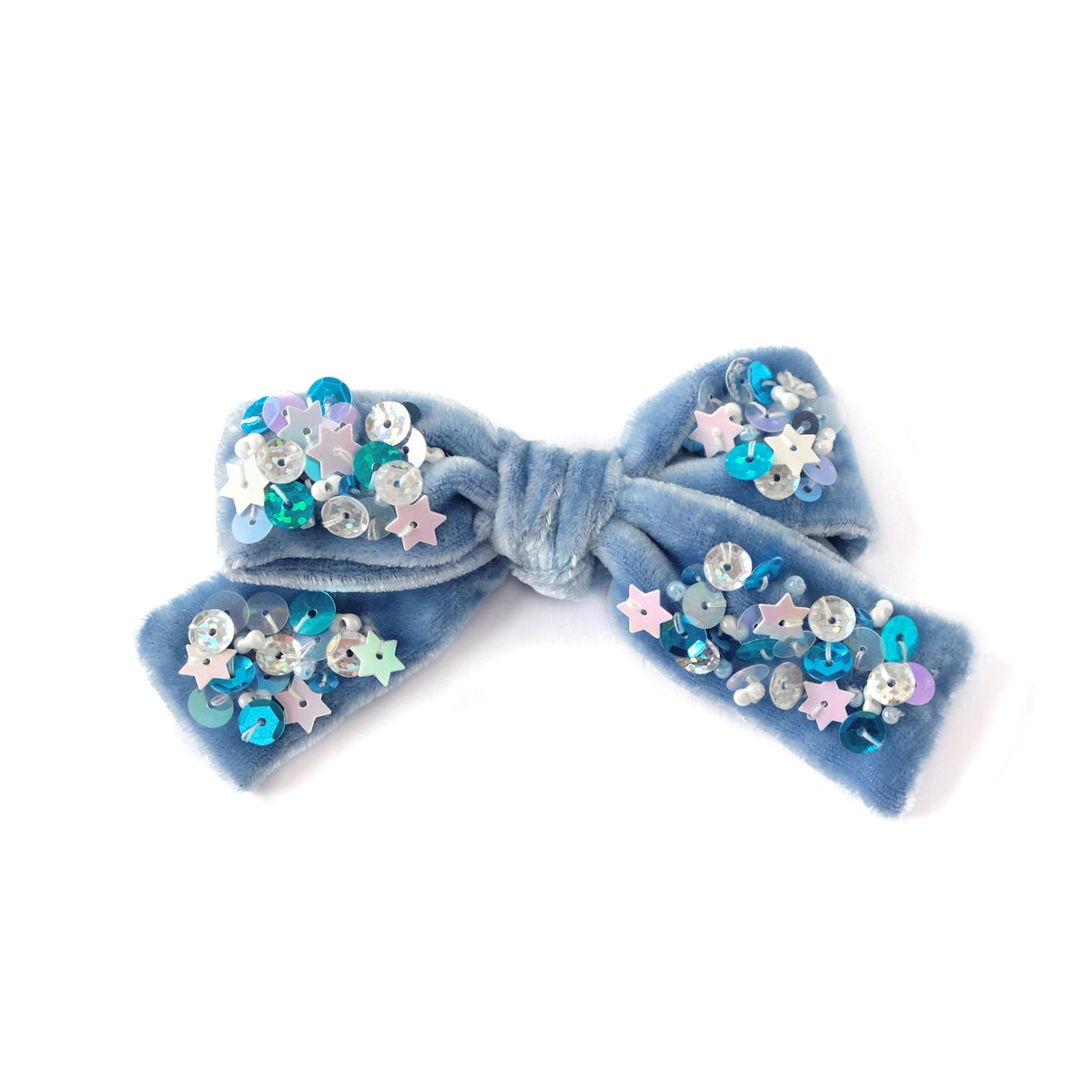 Silk velvet hair bow with sequin in periwinkle blue.