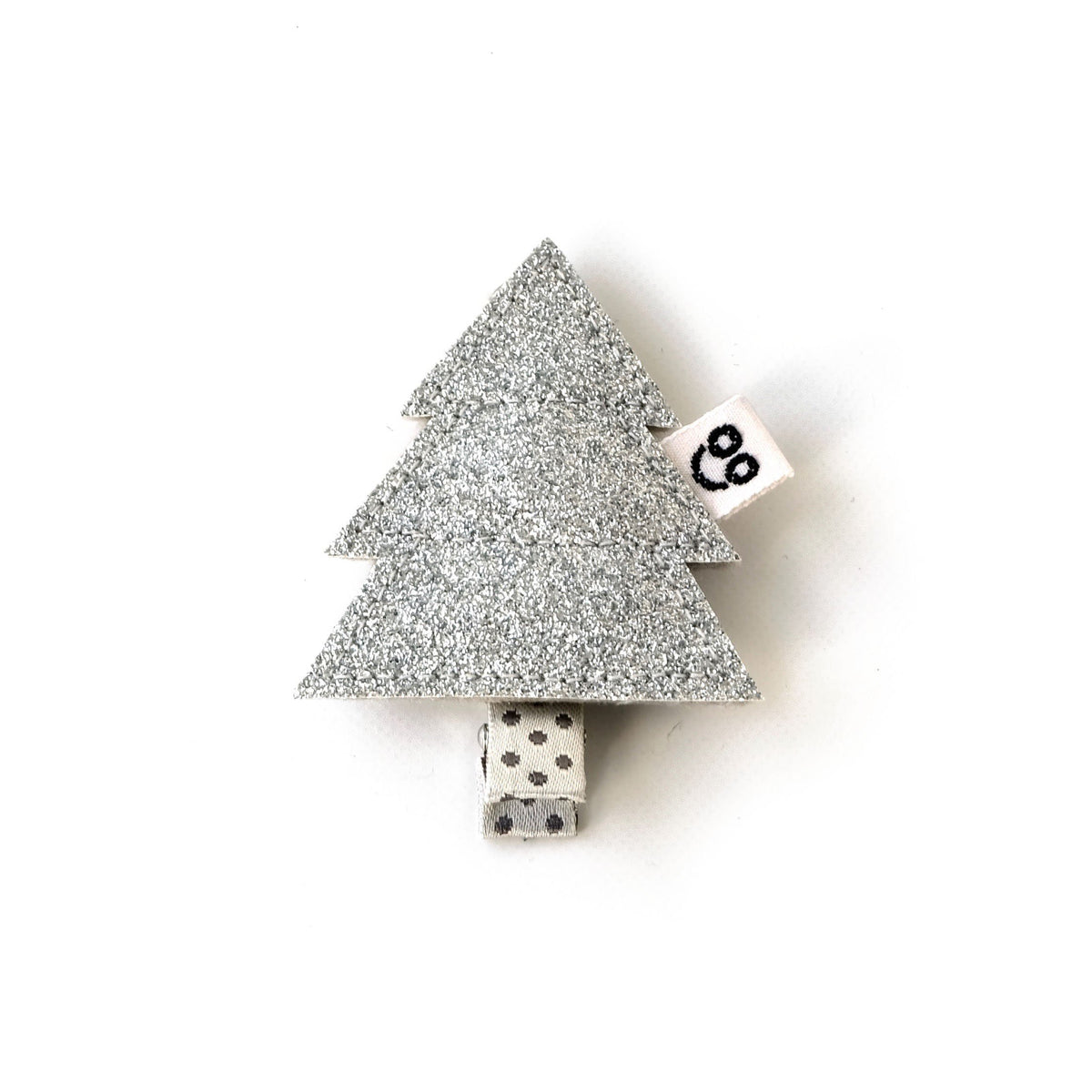 Pine tree hair clip in silver.