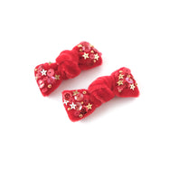 Velvet hair bow set in cherry red.