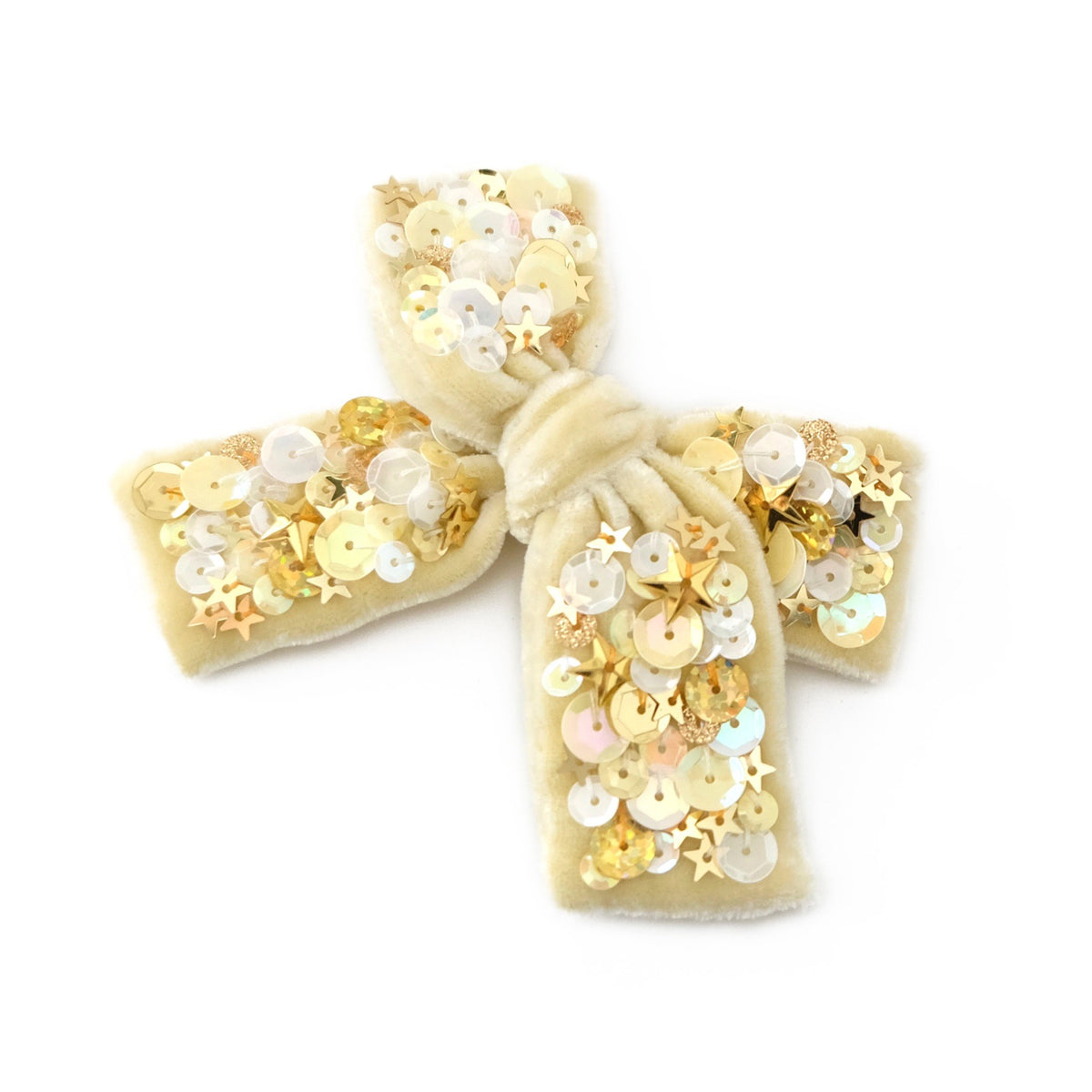 Velvet hair bow with  round and star shaped sequin in banana cream color.