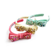 Velvet Bow Headbands in Strawberry Sherbet, Mint Green and Banana Yellow.